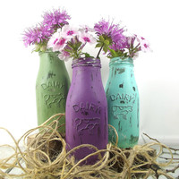 Decorative, Painted Milk Bottles -- Hand Painted Vase Set -- Shabby Cottage Chic Decor
