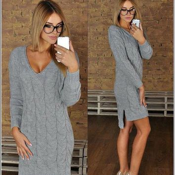 VONE055 Fashion V-neck knit sweater dress-1