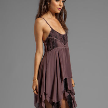 Free People Pieced Lace Slip in Mulberry Combo