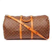 Louis Vuitton Brown Monogram 5595 Canvas Keepall 60 Weekend/Travel Bag (Authentic Pre-owned)