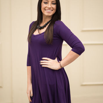 Purple V-Neck T-Shirt Dress