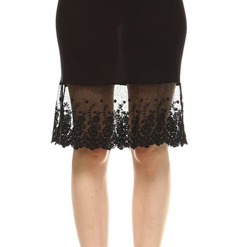 Women's Knit Lace Skirt extender Half Slip for lengthening and layering