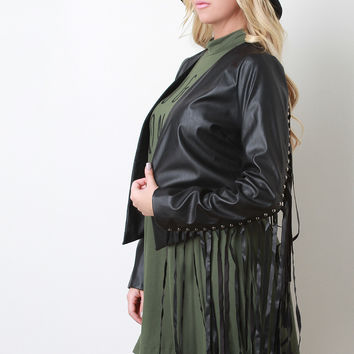 Fringe And Studs Vegan Leather Jacket