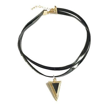 Retro Women's Triangle Rhinestones Leather Chain Pendant Necklace