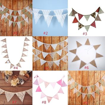 3.2m 12 Flags Lace Pennant Bunting Banner Vintage Party Wedding Decor