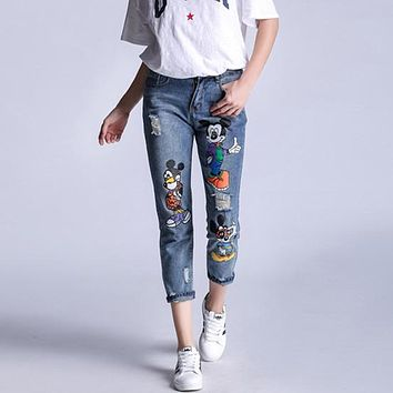 Women Fashion Cute Cartoon Mickey Print Ripped Slim-fit Pants Jeans Trousers