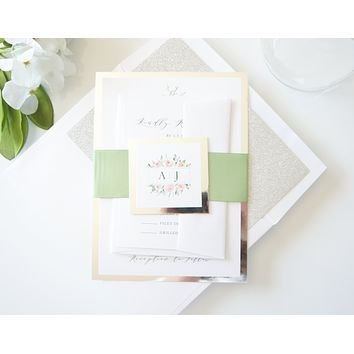 Green and Silver Floral Wedding Invitation - SAMPLE SET