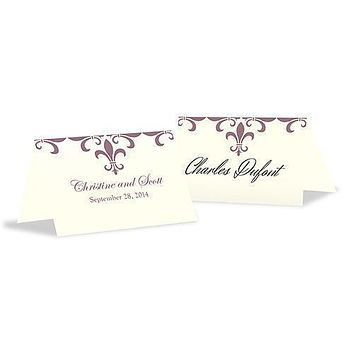 Fleur De Lis Place Card With Fold Berry (Pack of 1)