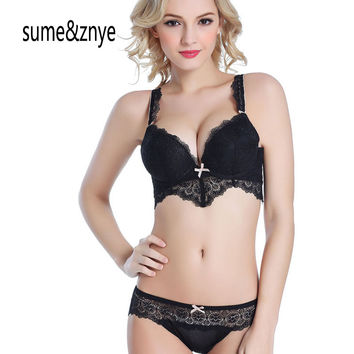 new 2017 summer Female underwear bra And Panty sets full lace gather embroidery adjustable push up women bra set 34 36 38 BC cup