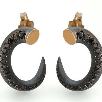 Black and gold earrings, Oxidized silver earrings, Black diamond earrings, Unique diamond earrings, Small hoop earrings, Raw gold earrings
