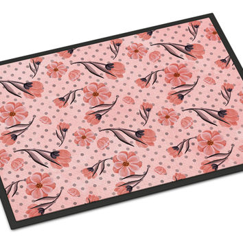 Pink Flowers and Polka Dots Indoor or Outdoor Mat 24x36 BB7499JMAT