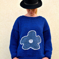 Blue sweater, hand knitted sweater with flower, M size , womens clothing