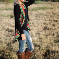 PRESALE Black Multi Colored Crochet Sweater