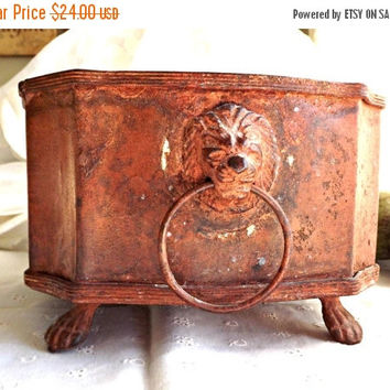 FALL SALE Cast Iron Planter, Lion Head Cast Planter, Vintage Decor, Vintage Square Planter, Hollywood Regency Decor