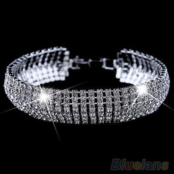 Women's Roman Golden Silver Rhinestone Wedding Party Mesh Cuff Bangle Bracelet 1P53