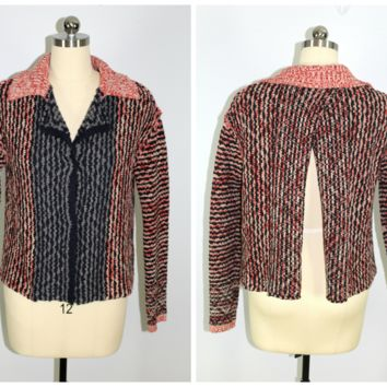 Free People Size Large Cardigan Sweater Split Back Snap Front