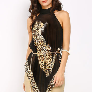 Pleated Leopard Chiffon Top W/Chain Belt