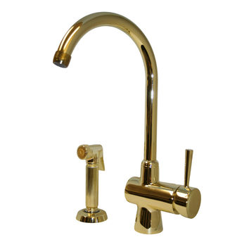 Evolution arcade single lever mixer with gooseneck swivel spout and a fluted solid brass side spray