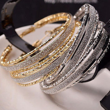 Fashion Style Women Lady Crystal Rhinestone Hoop Round Big Earrings Ear Stud