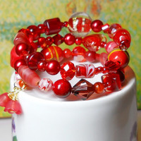Beaded Red Stretch Bracelet, Red glass, stone and acrylic beads, Christmas gift for her made in the USA, Love, Heart, Beach, Sanibel Island