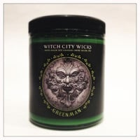 Greenman oakmoss amber scented 6 oz. soy candle jar