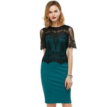 Trending Women Color Block Lace Pencil Dress Ladies Summer and Autumn Short Sleeve O-neck Bodycon Party and Work Dress