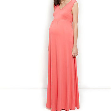 Maternity Coral Bar Back Maxi Dress