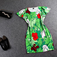 Leaves Print Ruffle Short-Sleeve Mini Dress