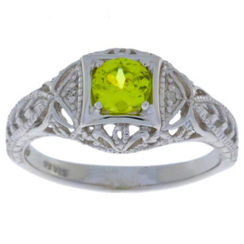 Peridot & Diamond Round Ring .925 Sterling Silver