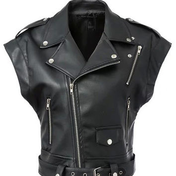 Black Zip-Up Notched Collar Cap Sleeve Faux Leather Short Jacket with Rivet Belt