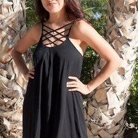 Play On Curves Crisscross Black Shift Dress