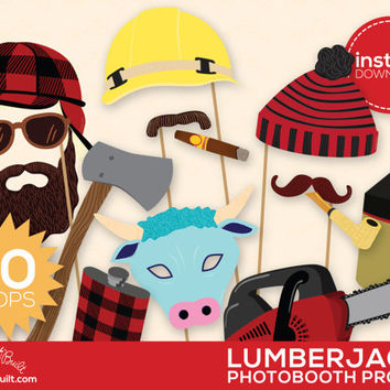 Lumberjack Party, Photo Booth Props - Photobooth Props, Lumberjack, Woodland Party, Woodland Decor, Great Outdoors, Man, Plaid - 20 Props