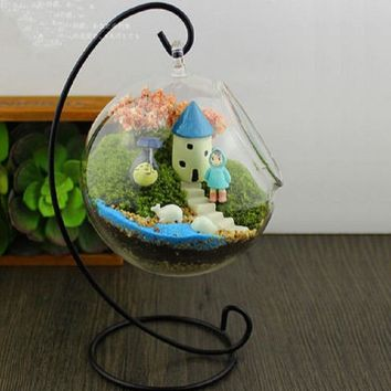 Trendy Romantic Iron Wedding Candle Holder Candlestick Glass Ball Lantern Cabin Micro Landscape Hanging Stand P10