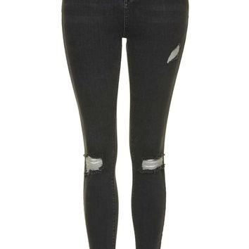 MOTO Washed Black Ripped Jamie Jeans - Topshop