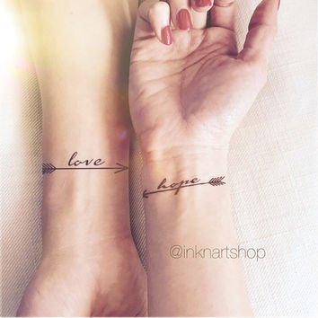 2pcs LOVE HOPE pair arrows set - InknArt Temporary Tattoo - wrist quote tattoo body sticker fake tattoo wedding tattoo small tattoo