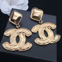 CHANEL Fashion new square rhombic earrings accessories women Golden