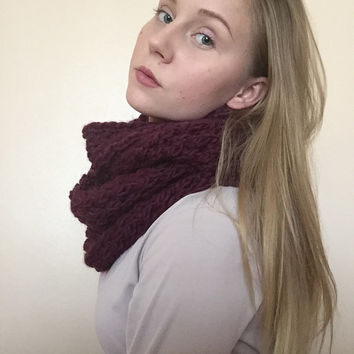 Chunky & Super Soft Infinity Scarf • Wool/Acrylic Blend • Short Scarf • Knit Scarf • MINI ROLLING коса •