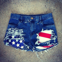 *PRESALE* High Waisted Festival Shorts - Stars and Stripes – Bad Kids Clothing