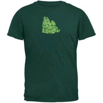 ONETOW St. Patricks Day - Shih Tzu Shamrock Forest Green Adult T-Shirt