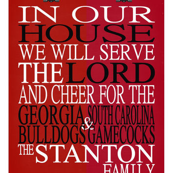 A House Divided - Georgia Bulldogs & South Carolina Gamecocks personalized family poster Christian gift sports art -multiple sizes