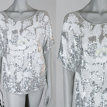 Vintage 80s Top / 1980s White and Silver Sequin Floral Silk Loose Trophy Top S