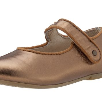 Old Soles Girl's 803 Lady Jane Old Gold Leather Hook and Loop Decorative Button Mary Jane Flat Shoe