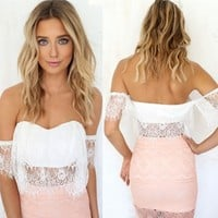 New Lady Women's Sexy White Off Shoulder Backless Boat Neck Short Sleeve Lace Crop Top