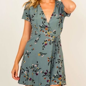 olivaceous -  floral wrap mini dress - teal