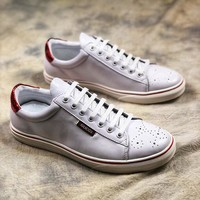 GUCCI leather Low-Top White Red Sneaker - Best Online Sale
