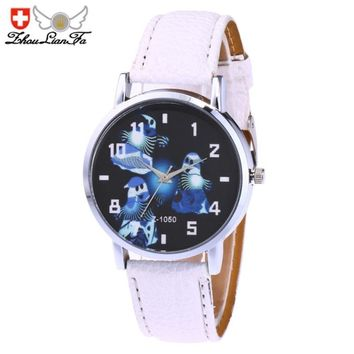 Zhoulianfa Ghost Watch Women Men PU Leather Strap Simple Quartz Watches Ladies Casual SPorts Clock Wrist Watches #LH