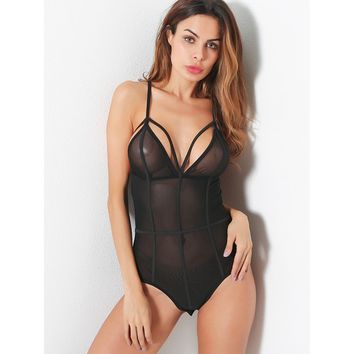 Strappy Caged Mesh Teddy