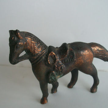 Vintage Horse With Sadle Brass Small Green Patina Copper PlatDistressed Equine Toy