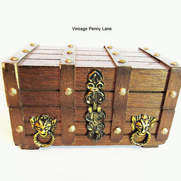 Vintage Jewelry Box, Pirate's Wood Chest Trinket, Treasure Box