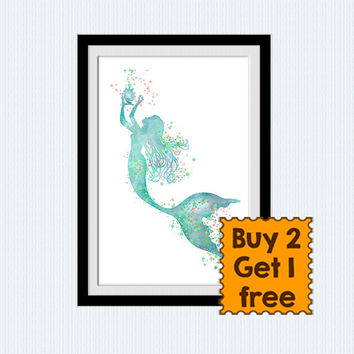 Mermaid poster The little mermaid watercolor print Disney art decor Nursery room wall art Home decoration Kids room art decor Gift idea W736